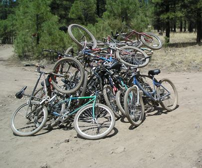 A post race pile of bikes…