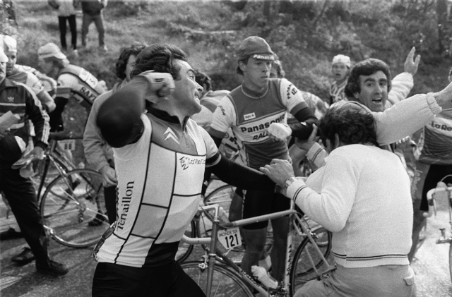 Behard Hinault taking out the slack.
