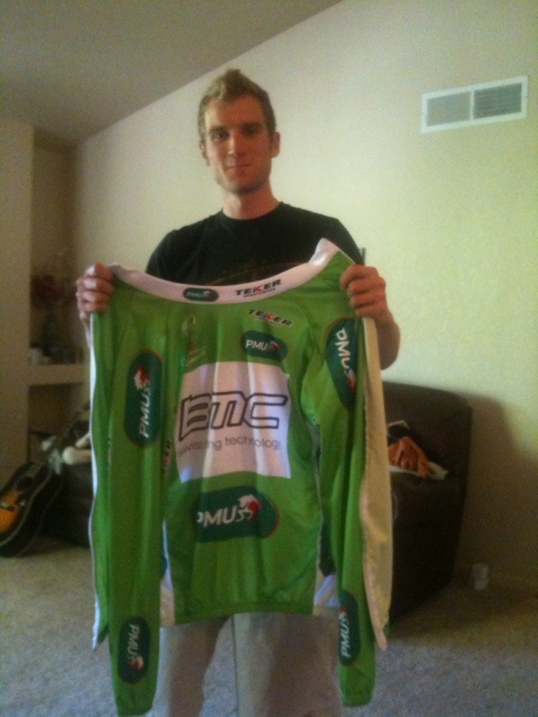 Chad Beyer and his Green Jersey from Tour of Romandie