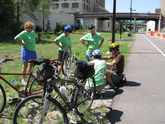 Senna helps someone on Saturday in summer on the Greenway