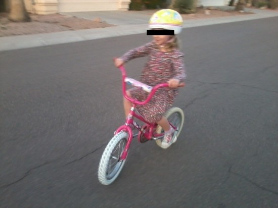 She runs a pink single speed.
