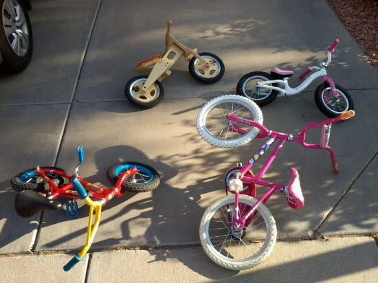 The kid's bike armada.