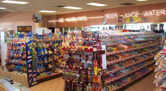 A convenience store stocks a range of everyday items and it open 24 hours.