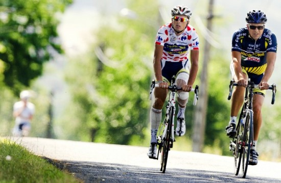 Hoogerland and his father on the rest day Tour de France 2011