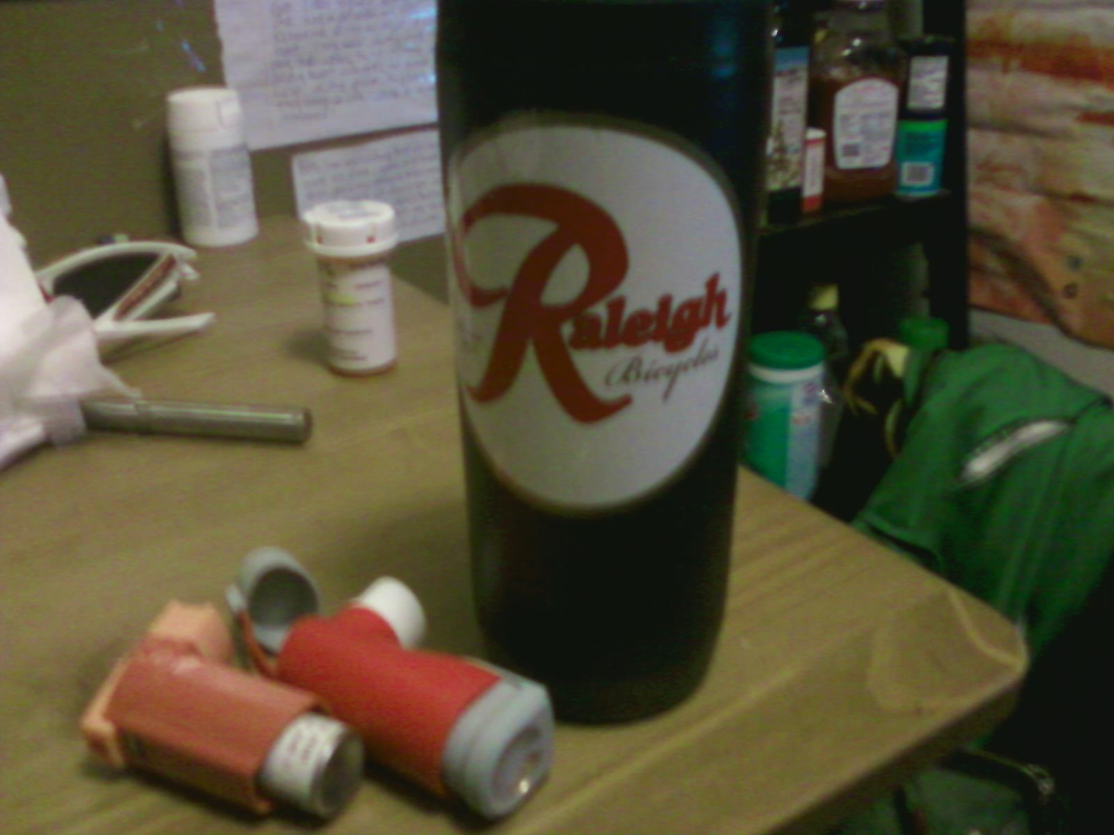 Raleigh coffee thermos, inhalers and antiobiotics