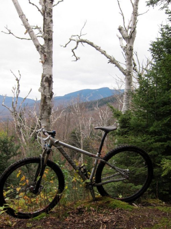 A borrowed bike with Stowe, VT in the background
