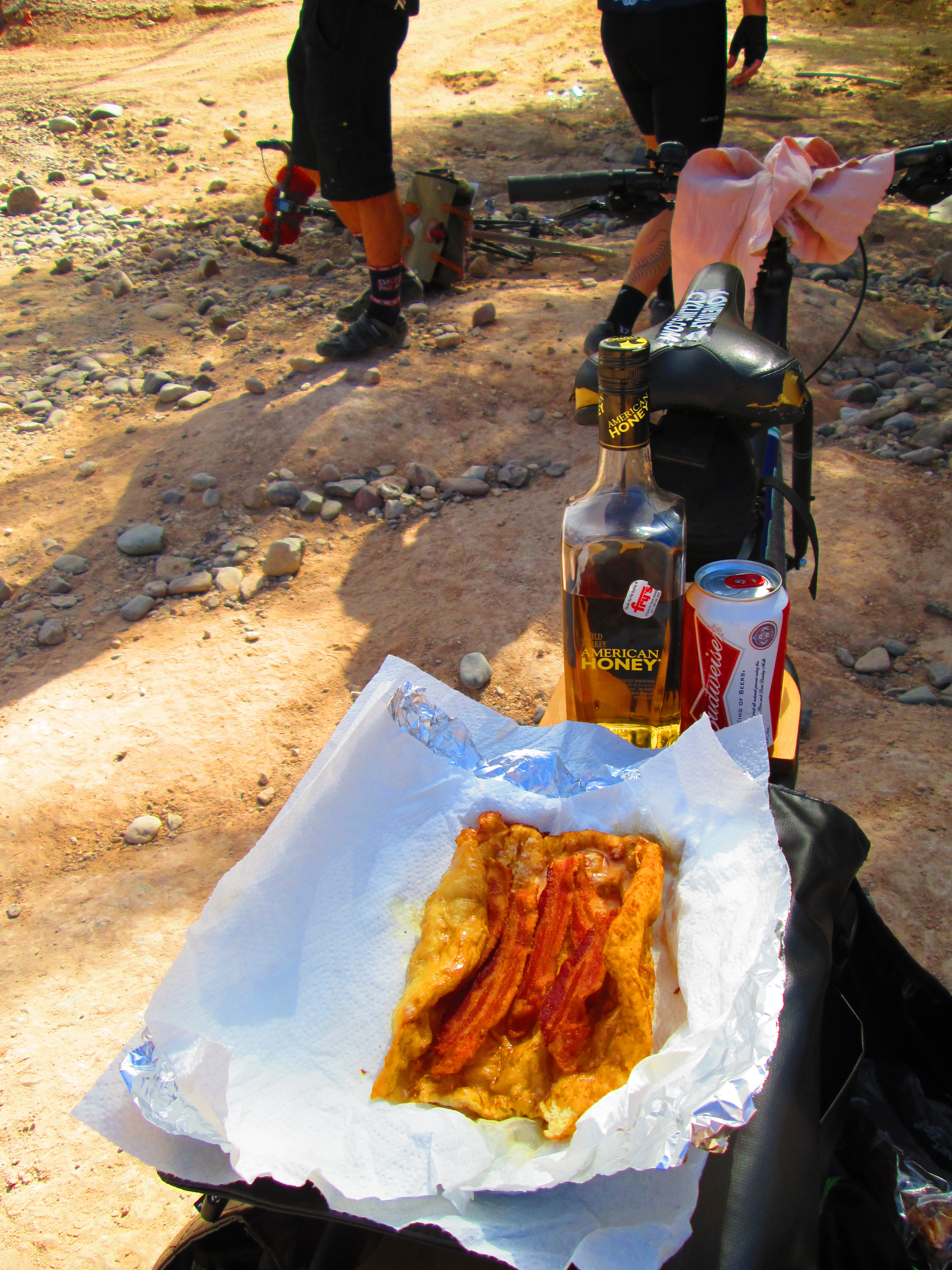 frybread, bacon, Bud, and honey whiskey.