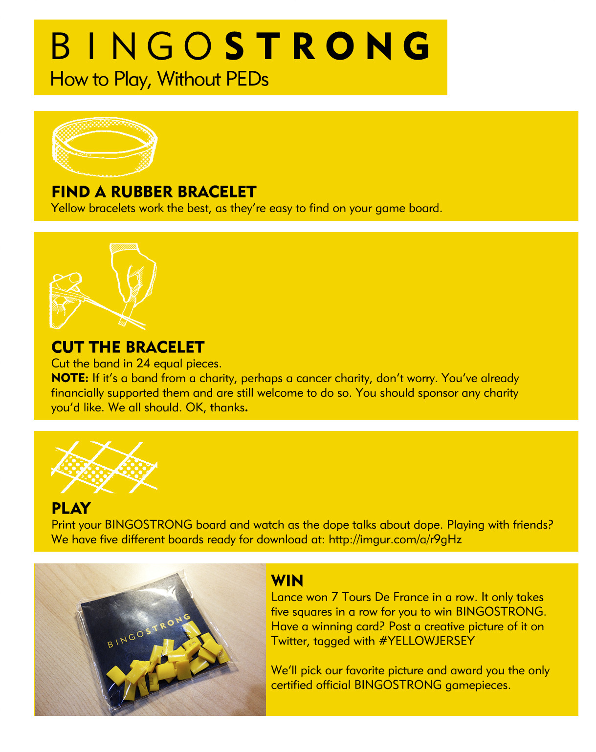 BingoStrong game rules, a handy guide for making your game pieces, and a grand prize