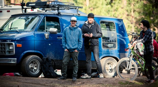 Paris Gore next to Josh Tofsrud blue rowdy van
