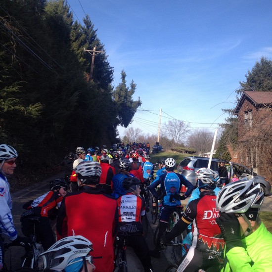 Regrouping at a summit before setting out en masse to the next climb.