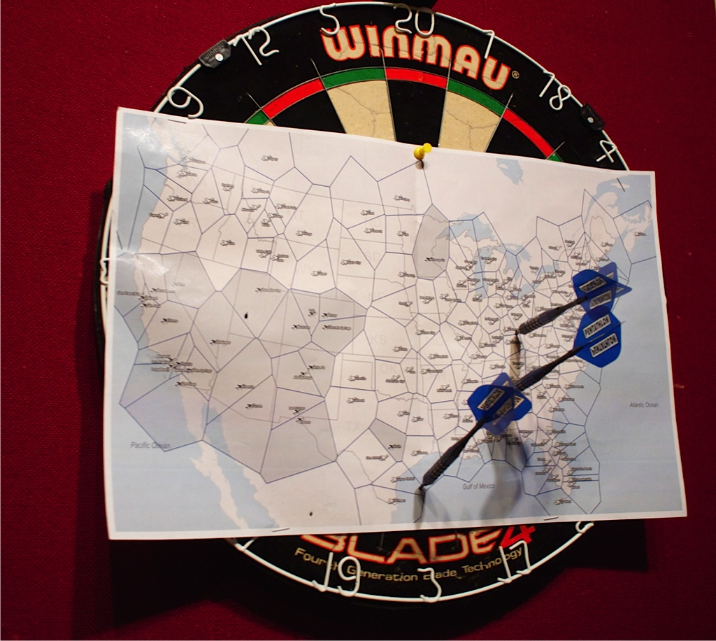 Darts At The Map Drunkcyclistcom - Throw a dart at a map of the us